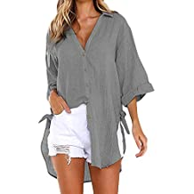 dce98ff5b ZHRUI Las señoras de Las Mujeres Sueltan el botón de la Camisa Larga  Vestido de algodón