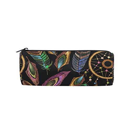 Estuche para lápices de plumas estilo vintage atrapasueños para niños y niñas, bolsa para bolígrafos, bolsa para la escuela, bolsa de maquillaje redonda