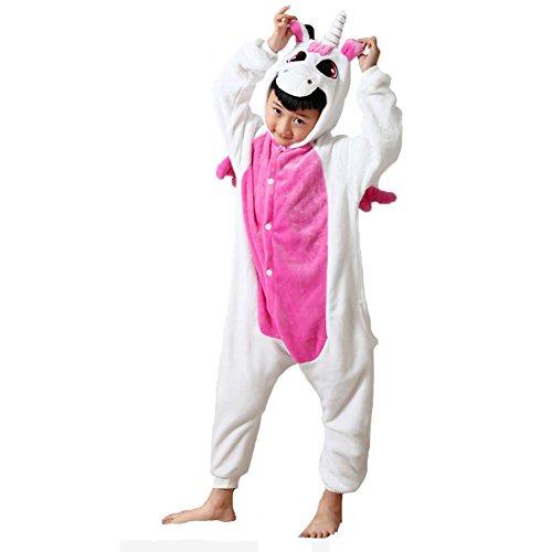 JunYito Pijama Animale Niños Niña Adulto Mujer Invierno Kigurumi Unicornio Disfraz Cosplay Halloween y Navidad(140, Rosa)
