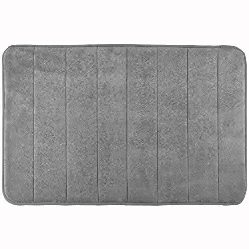 WohnDirect Memory Foam Badematte - Rutschfester Badteppich - Badezimmerteppich waschbar & schnelltrocknend - Badvorleger 50 x 80 cm - Grau -