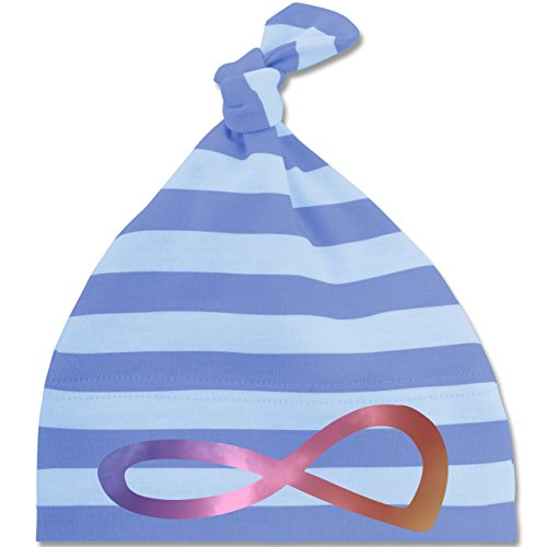 Up to Date Baby - Unendlich Forever Regenbogen - Unisize - Blau/Babyblau - BZ15S - gestreifte Baby Mütze mit Knoten / Bommel für Jungen und Mädchen