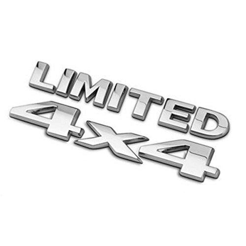 DSYCAR 4 X 4 + LIMITED Chrome Logo 3d Aufkleber Emblem Logo Aufkleber Namensschild Abzeichen Dekoration für Universal Cars Moto Bike Auto Styling Dekorative Zubehör (Silber) - Chrome Emblem Auto Limited