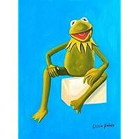 Pop Art - Muppets - Kermit On Blue 30x40 cm Oil Painting