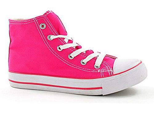 Foster Footwear ,  Mädchen Jungen Unisex Kinder Kurzschaft Stiefel Hi-Top Fuxia
