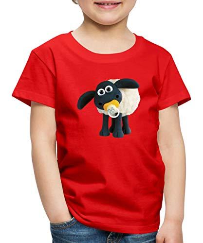 Spreadshirt Timmy Shaun das Schaf Kinder Premium T-Shirt, 98/104 (2 Jahre), Rot