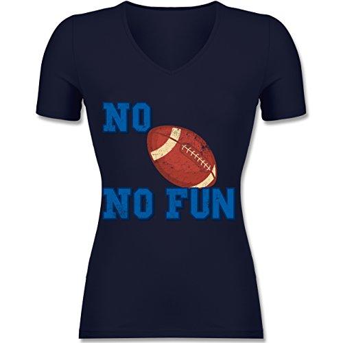 Sonstige Sportarten - No Football no Fun Vintage - Tailliertes T-Shirt mit V-Ausschnitt für Frauen Dunkelblau