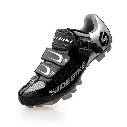 TXJ Specialized Scarpe da Ciclismo MTB per Mountain Bike (Argento-Nero) (Si Prega di Scegliere Una Taglia più Grande del Solito Indossare)