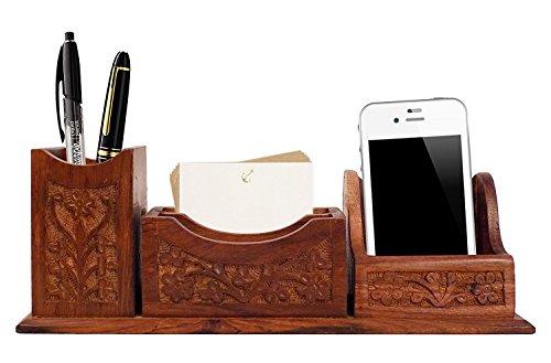 Set Ufficio Legno : Vian beautiful indiano handcrafted da ufficio in legno set da