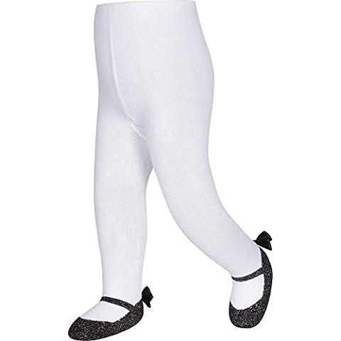 Baby Emporio - Baby Anti-Rutsch-Strumpfhosen für Mädchen - Mary Jane-Design - funkelnd - Satinschleifen an Fersen - mit Geschenkbeutel - 6-12Monate - Funkelnd Schwarz
