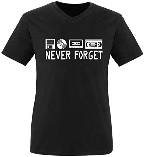 EZYshirt® Never forget Herren V-Neck T-Shirt Schwarz/Weiss