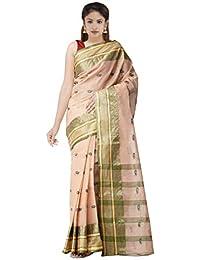Unnati Silks Women's Bengal Handloom Cotton Tant Saree (UNM31895+Brown+Free Size)