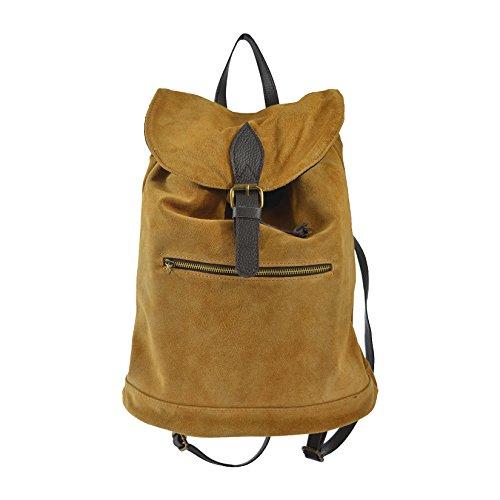 CTM Le sac à dos des femmes en cuir suédé véritable made in Italy 32x38x17 Cm