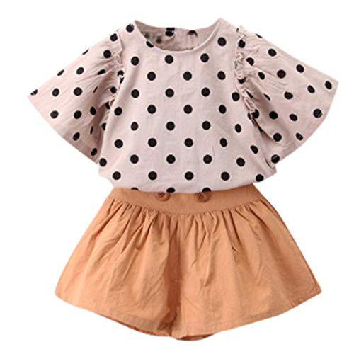Lookhy Kind Baby Mädchen Dot Print Fly Sleeve Tops T Shirt + Boden Shorts Outfits Set Bekleidung Set Hemd Hose mit Hosenträger Langarm Karierte Hemd mit Fliege Latzhosen