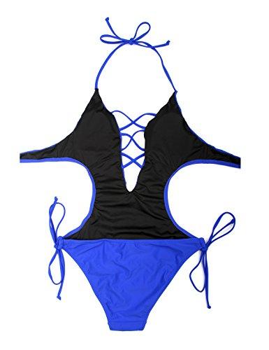 RELLECIGA Damen Bademode MONOKINI Badeanzug Schnürchen Blau