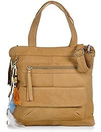 COWBOYSBAG, cuir, femmess, cabas, sacs à main, sacs en cuir, aspect vintage, sac à main, sac bandoulière, cuir, beige naturel, 33 x 33 x 3 cm (H x L x P)