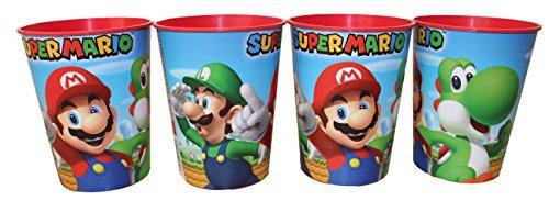 Unbekannt Nintendo Super Mario Trinkbecher Saftbecher Becher 4er Set (Mario Kunststoff)