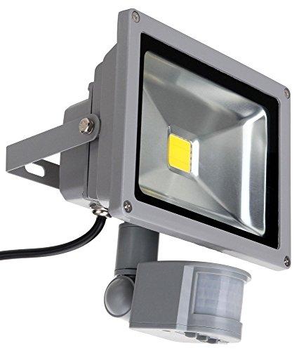 Showlite FL-2020B LED Outdoor Fluter (Flutlicht mit Bewegungsmelder, 20W, 2200 Lumen, IP65, 4500K, tageslicht-weiß) - Outdoor-reflektor Flutlicht Lampe
