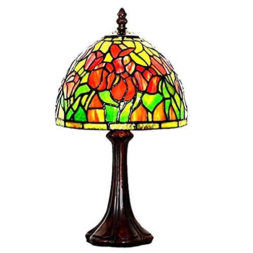 YCL Tischlampe Europäische Retro 8 Zoll Dekoration Tischlampe Blume Glasmalerei Tischlampe Mit Online Schalter Wohnzimmer Schlafzimmer Arbeitszimmer Nachttischlampe 40 watt