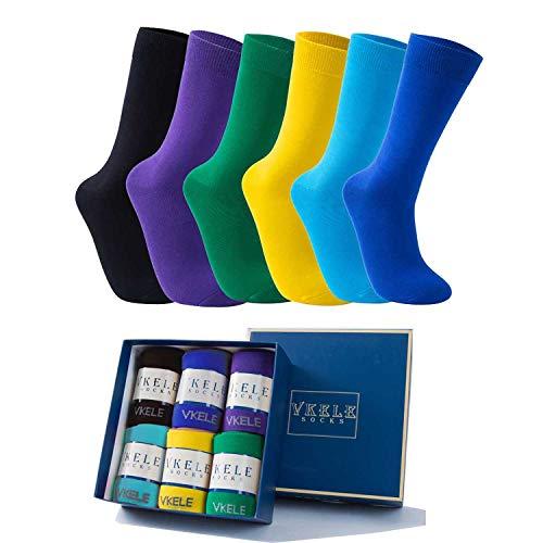 Vkele 6 Paar einfarbig Socken Geschenkpack Ideal als Ostergeschenke, bunt Herrensocken, Baumwolle, Crew Socken, für Business und Freizeit, blau, lila, schwarz, gelb, grün, hellblau, 43 44 45 46