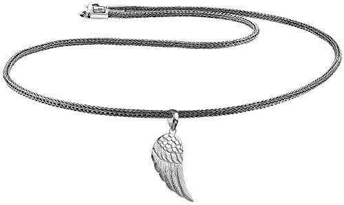 KUZZOI Herren Silber-Halskette mit Flügel-Anhänger, 925er Sterling Silber oxidiert, Länge 50cm, Königskette Herrenkette mit Anhänger, sehr hochwertig und handgearbeitet, ZOI-014