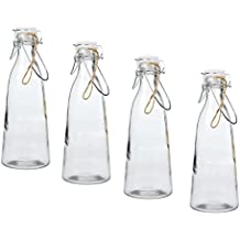 Invero – 4 x Pack de Classic Vintage cocina hermético botella de cristal 1 L con anillo de goma y clip de metal en la tapa. Ideal para leche, zumos, vino y ...