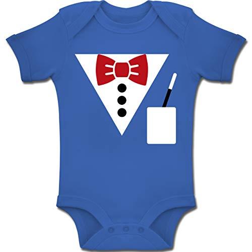 Weiße Magier Kostüm Mädchen - Shirtracer Karneval und Fasching Baby - Magier Kostüm - 6-12 Monate - Royalblau - BZ10 - Baby Body Kurzarm Jungen Mädchen