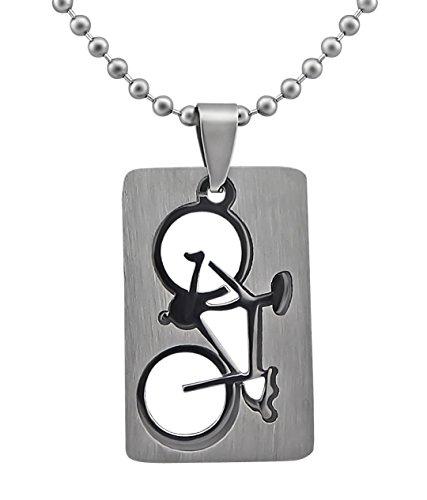 Hanessa Schmuck Edelstahl Herren-/ Damen Halskette Fahrrad Renn-Rad Sport Triathlon Geschenk für Mann oder Frau/Freund oder Freundin (Fahrräder Triathlon)