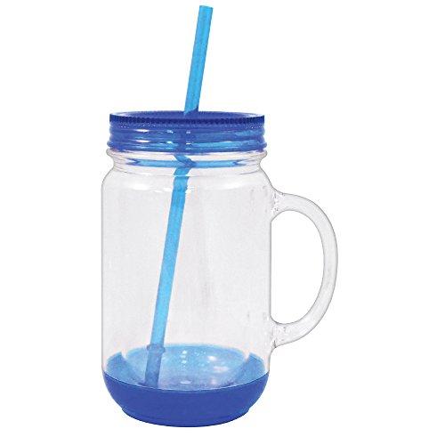 Mason Glas mit Deckel Kunststoff Becher Trinkbecher Tasse mit Stroh 18oz blau (Deckel Jar Bulk Mason)