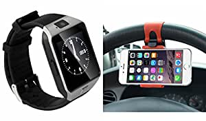 Smart Watch & Sterring Holder for OPPO 3000(Sterring Holder,Mobile Holder & Bluetooth DZ09 Smart Watch Wrist Watch Phone with Camera & SIM Card Support Hot Fashion New Arrival Best Selling Premium Quality Lowest Price with Apps like Facebook, Whatsapp, Twitter, Sports, Health, Pedometer, Sedentary Remind & Sleep Monitoring, Better Display, Loud Speaker, Microphone, Touch Screen, Multi-Language, Compatible with Android iOS Mobile Tablet-Silver Color)