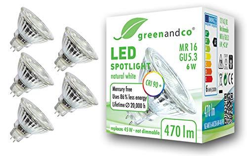 5x greenandco® CRI90+ LED Spot 4000K neutralweiß ersetzt 45 Watt GU5.3 MR16 Halogenstrahler, 6W 470 Lumen SMD LED Strahler 36° 12V AC/DC Glas mit Schutzglas, nicht dimmbar, 2 Jahre Garantie 45 Lumen-led