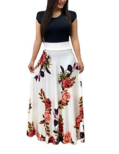 YIPIN Vestiti Donna Lunghi Manica Corta Estivi Colore Bloccato Stampa Floreale Lungo Vestito Spiaggia Cerimonia Sera