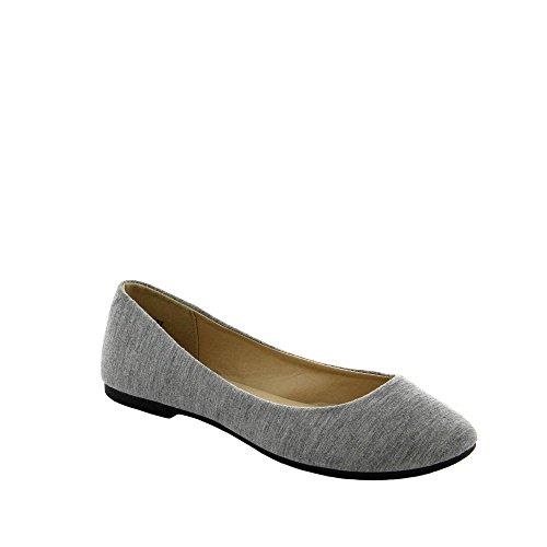 Ideal Shoes, Damen Ballerinas, Grau, 38
