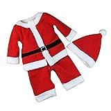 BESTOYARD Conjunto de Disfraz Papa Noel para Bebe Niño Niña Gorro de Navidad Ropa Pantalones con Cinturón tamaño 90 cm (Rojo)