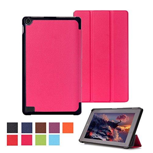 DETUOSI Fire 7 Zoll 2015 Tablet Hülle Etui Case - Ultradünn Schutzhülle Tasche für Amazon Fire (7-Zoll-Tablet, 5. Generation - 2015 Modell) Tablet SmartShell Cover mit Ständer - Hot Rose