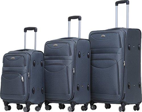 BEIBYE BEIBYE 8009 TSA Schloß Stoff Trolley Reisekoffer Koffer Kofferset Gepäckset (Grau, Set)