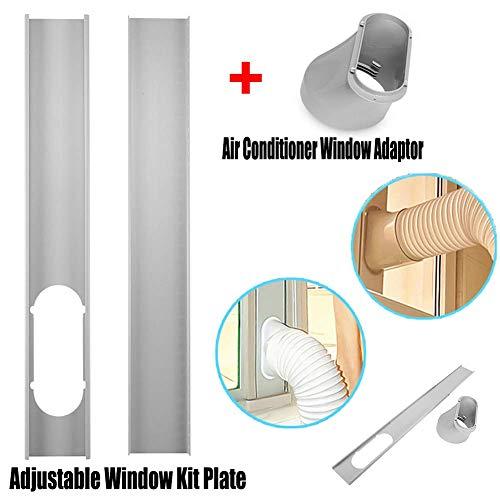 P12cheng Fenster Kit Platte + Adapter,2Pcs Einstellbare Fenster Kit Platte and Fenster-Adapter-Rohrverbinder Für Abluftschlauch-Kit Für Tragbare Klimaanlagen Adapter-kit