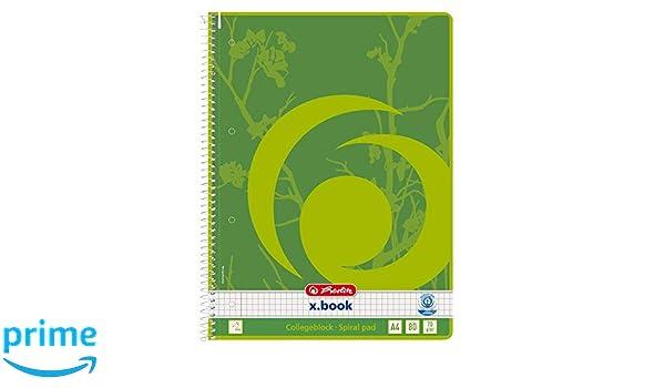 format A4 marge /à gauche A carreaux 80/pages Lot de 5/blocs-notes Herlitz 303420 papier /écologique