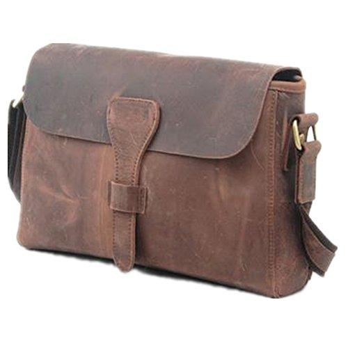 5 All Damen Herren Tasche aus echtes Leder Henkeltaschen Umhängetasche Messager Bag Aktentasche Daybags für Alltag Arbeiten Freizeit (Kaffee) Kaffee