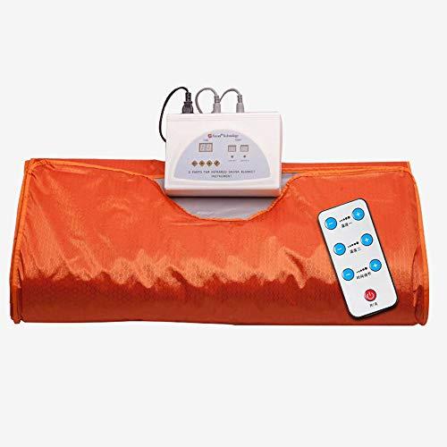 LMJ-massage Sauna Decke Body Shaper Gewichtsverlust, Sauna Schlankheitsdecke, Detox Therapie Anti Aging Beauty Maschine (mit Fernbedienung),Orange,180cmX80cm