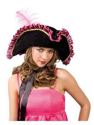 Boland Piratenhut für Damen pink schwarz mit Feder