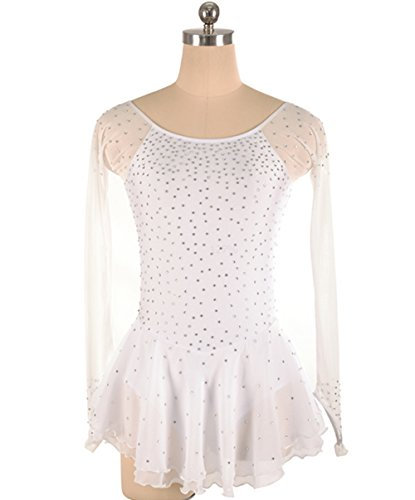 Heart&M Handgefertigte Eiskunstlauf-Kleid für Mädchen Eiskunstlauf-Wettbewerb Kostüm Strass Langärmelige Eiskunstlauf Trikots Weiß, M (Kostüm Für Eiskunstlauf)