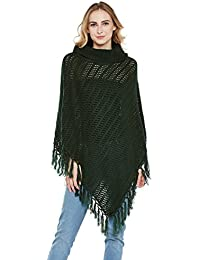Cayman Olive Acrylic Woollen Knitted Poncho Sweater