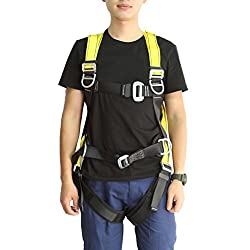 Magideal Full Body Rock Climbing High Work Rappelling Safety Harness Seat Belt Black