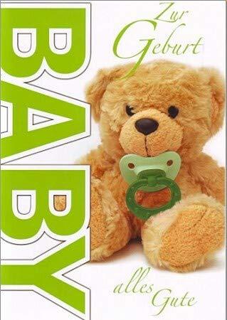 A4 Glückwunschkarte Geburt Teddy mit Schnuller