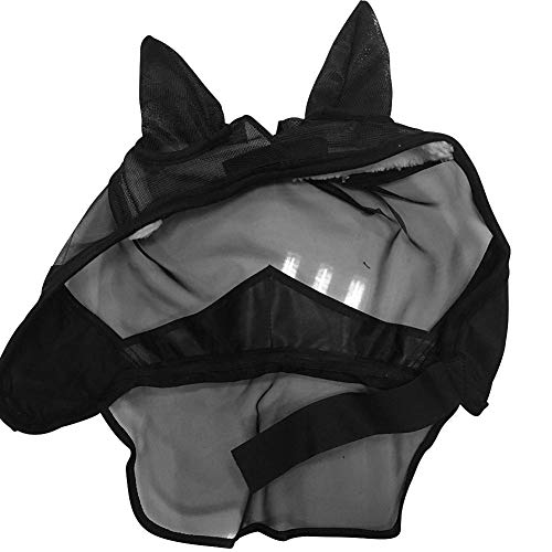 EZIZB Maschera Protettiva per Cavallo con Moschettone Orecchie E Cappucciera Protettiva Maschera della Mosca di Cavallo per Il Naso con Cerniera