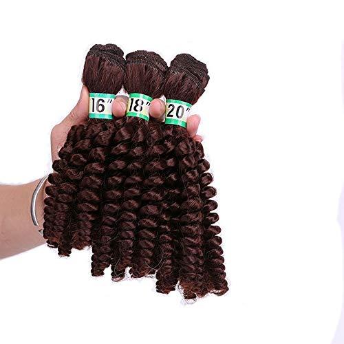 FUBULECY Deep Wave Hair with Closure Brasilianisches Haar 3 Bundles mit kostenlosen Haarverlängerungen - 33# Rotbraun (Farbe : Red Brown, Size : 18