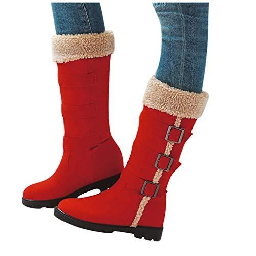 Fenverk Damen Winterschuhe Schneestiefel Plateau Shorts Stiefel Chunky Heels Boots Stiefeletten Fell Bequeme Gefüttert Mode Schuhe 3 cm Schwarz, Braun, Rot, Beige Gr.35-43(A rot,35 EU)
