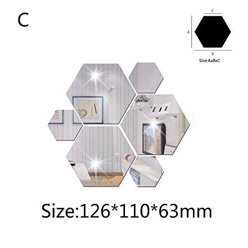 cke 3D Spiegel Hexagon Vinyl Abnehmbare Wandaufkleber Aufkleber Home Decor Art DIY hausgarten küche zubehör dekorative aufkleber wandbilder ()