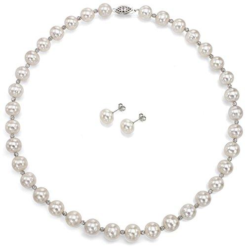 Sterling Argento 10-10.5mm Bianco D' acqua dolce perla coltivata collana e orecchini set, 18