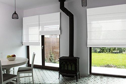 Premium-Raffrollo nach Maß, Raff-Gardinen, Vorhang, hochqualitative Wertarbeit, alle Größen verfügbar, Fenster & Türen, maßgefertigt, Klemmfix ohne Bohren (260cm Höhe x 90cm Breite/Weiß)